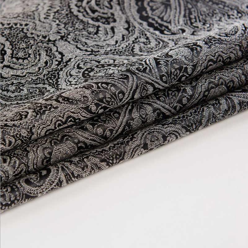 Perancis Impor Hitam Jacquard Permadani Satin 3D Jacquard Kain Brokat untuk Dress Sarung Bantal Tirai Patchwork 114 Cm Lebar