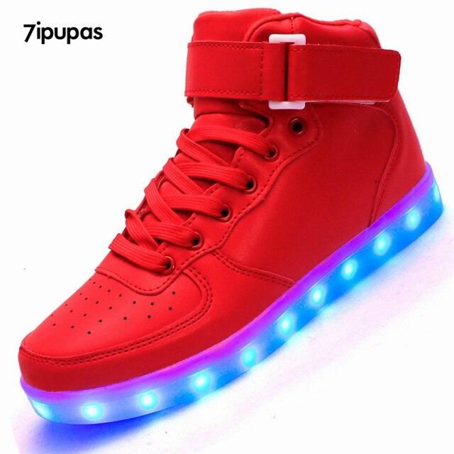 7 ipupas Levou luminosa de alta-top formadores sapatos para homens e Unissex, bem-vindo para revender, Com atendimento ao cliente perfeito
