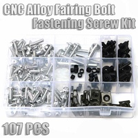 107Pcs/Set Complete Motorcycle Fairing Bolts Nuts Screws Washer Kit Cases Fastener Clips Screws Aluminum Boxes