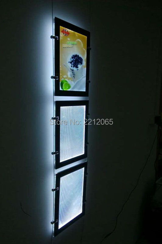 (Pack/3units) A4 Double Sided Cable Display Systems,Art & Gallery Hanging Systems for Artwork,Signage and Pictures.