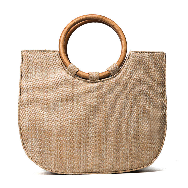 Wooden Handle Weave Handbag Straw Plaited Article Sandy Beach Single Shoulder Woman Package bolsa feminina sandy beach round mat