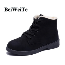 Women's Winter Snow Walking Boots With Fur Warm Barefoot Shoes Wearable Sneakers For Female High Top Outdoor Casual Shoes Black