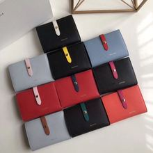 simple fashion color top layer leather toothpick pattern function wallet ladies buckle wallet card package