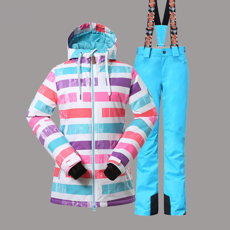Gsou Snow Women Ski Suit Windproof Waterproof Outdoor Sport Wear Camping Riding Skiing Snowboard Super Warm Jacket+Pant Suit Set
