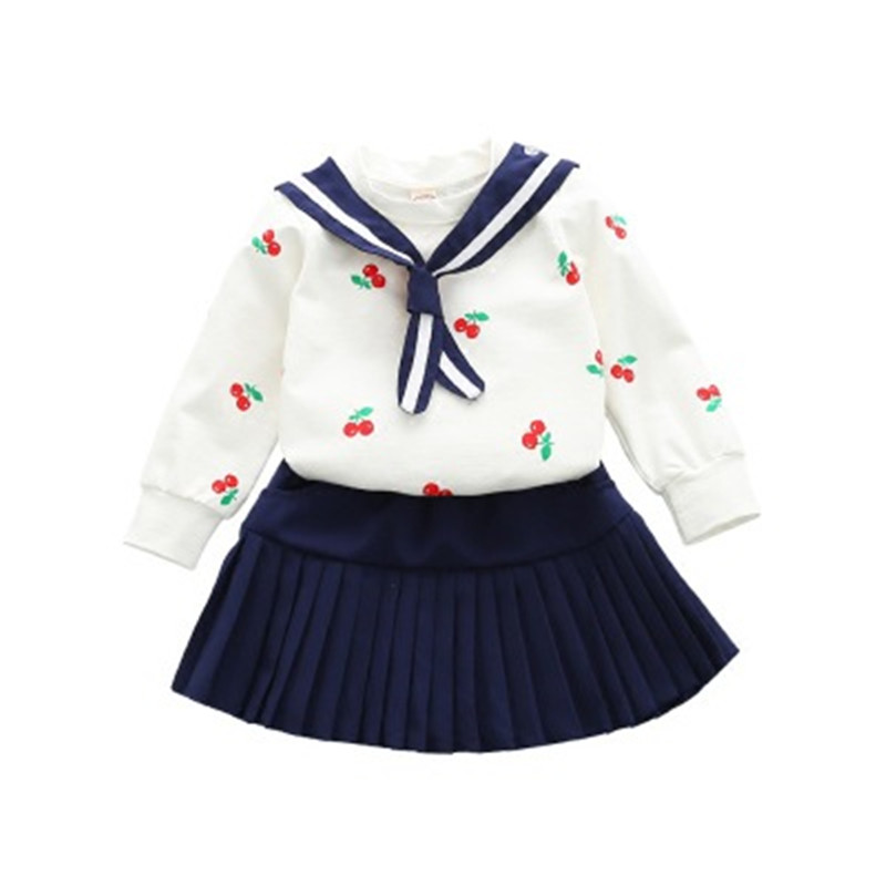 Children girls Clothing Set 2018 Spring School Uniform Korean Bow T Shirts Tops + Pleated Skirt 2pcs Clothes Outfit Kid Wear футболка для мальчиков children boy clothes camisa 100% vetement garcon enfant girls tee shirts