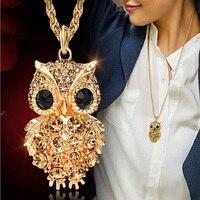 New Brand Charms Owl Necklaces Pendants Vintage Crystal Gem Cubic Zircon Diamond 18K Gold Long Chain