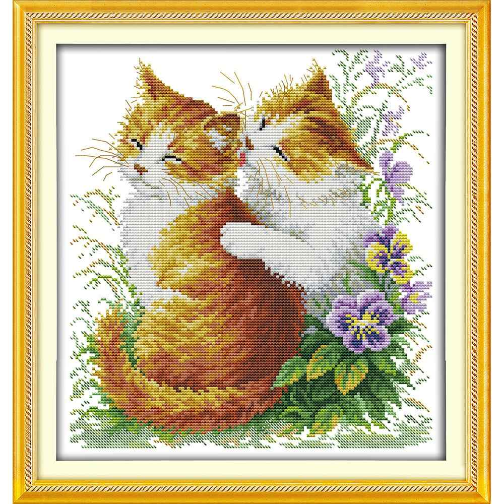 Everlasting love Christmas Kissing cats (2) Chinese cross stitch kits Ecological cotton  stamped 11 CT New store sales promotion