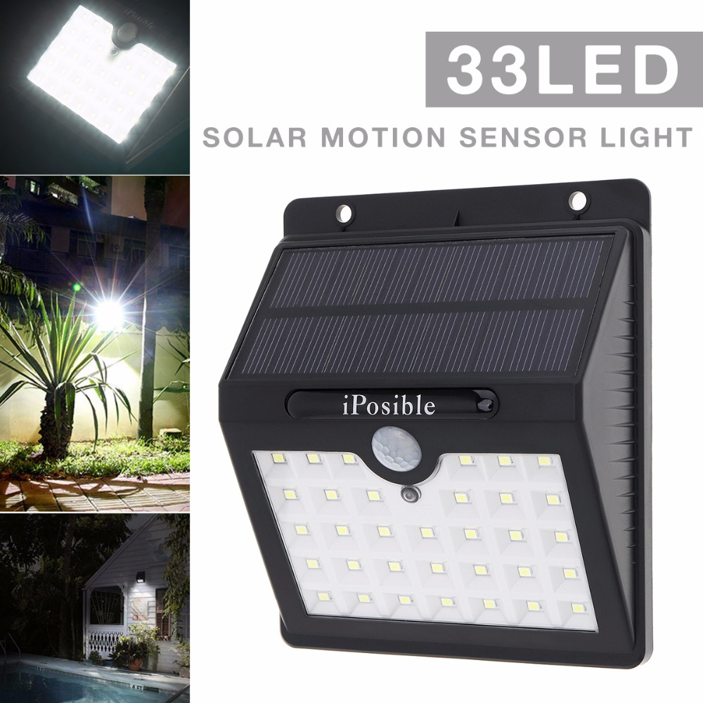 Waterproof 33 Leds Rechargeable LED Solar Light With PIR Motion Sensor Wall Lamp For Outdoor / Garden / Patio / Lane / Street