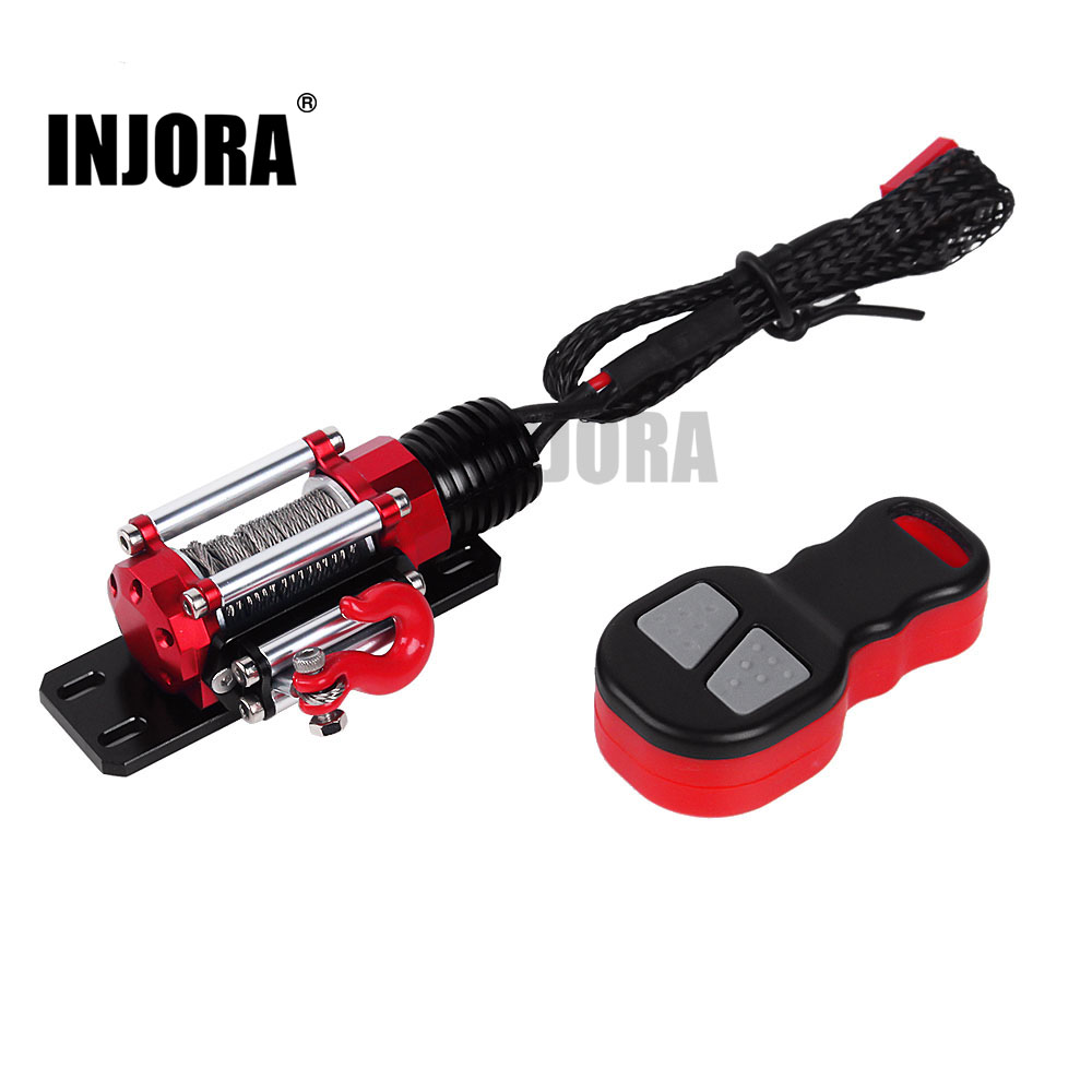 INJORA RC Car Metal Winch + Wireless Remote Controller For 1:10 RC Crawler Car Traxxas TRX4 Axial SCX10 90046 D90