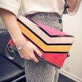 2016 Rainbow Mulheres Clutch Bag Envelope Clutch Purse Handbag Designer Bolsas de Alta Qualidade PU de Couro Sacos Crossbody Para As Mulheres