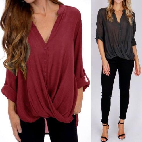 4bfdc2c5976b3b Autumn Women Long Sleeve Baggy Shirts Wrap V Neck Blouse Shirt V Neck Plus  Size Tunic Linen Blouses New Loose Streetwear