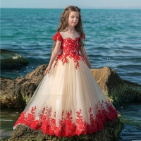 POSH DREAM Champagne with Red Lace Flower Girls Weddings Dresses First Communion Children Tutu Dresses for Birthday Party