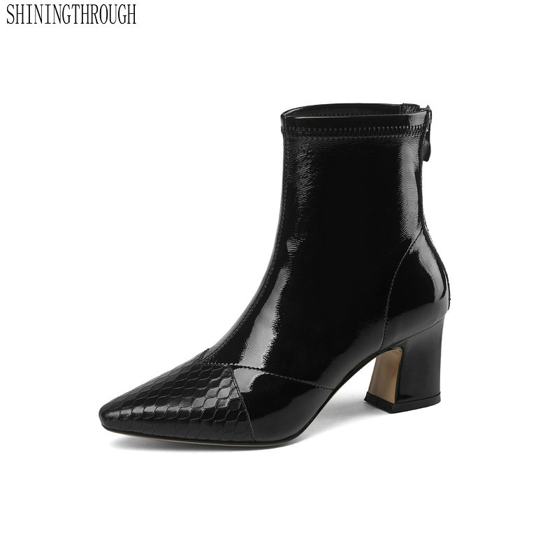Women Ankle Boots genuine Leather high Heels poined toe High Quality Winter Shoes Woman Ladies Short Boots large size 42 43 spring autumn winter platform high heels ankle boots women short boots ladies shoes botas botte femme plus size 34 40 41 42 43