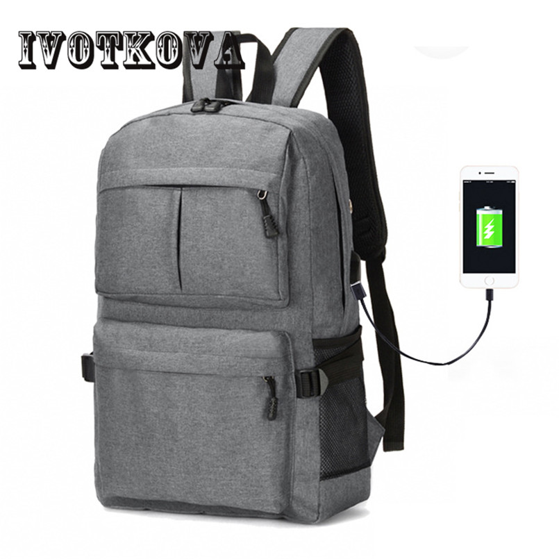 IVOTKOVA Women Men Canvas Backpacks Large School Bags For Teenager Boys Girls Travel Laptop Backbag Mochila Rucksack Grey