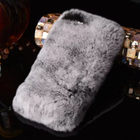 Luxury 3D Lazy Rabbit Fur Hair Diamond Case Rhinestone Crystal Phone Cover Fundas Capa Coque For