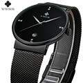 Luxury Wwoor Brand Men Watches Full Steel black Band Ultra Thin Date Calendar Casual Quartz Watch Wristwatches Male Montre Homme