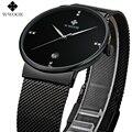 Wwoor luxo Marca Homens Relógios Completa De Aço Faixa preta Ultra Fino Data Calendário Casuais Relógio de Quartzo Relógios de Pulso Masculino Montre Homme