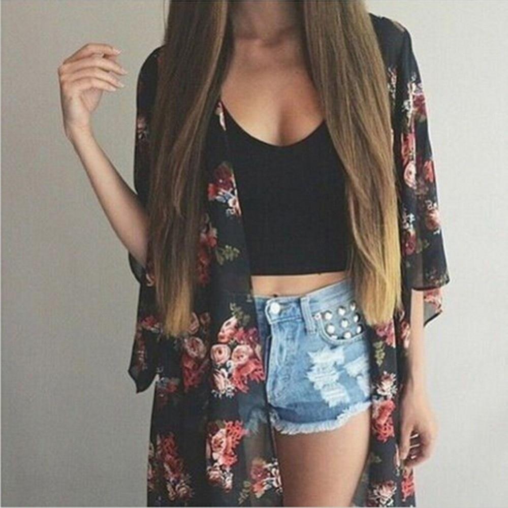 Frauen quimono Casual Vintage Kimono Cardigan Damen Lange Crochet Chiffon Kimono preto Lose flora gedruckt Bluse Tops Schwarz 63 #