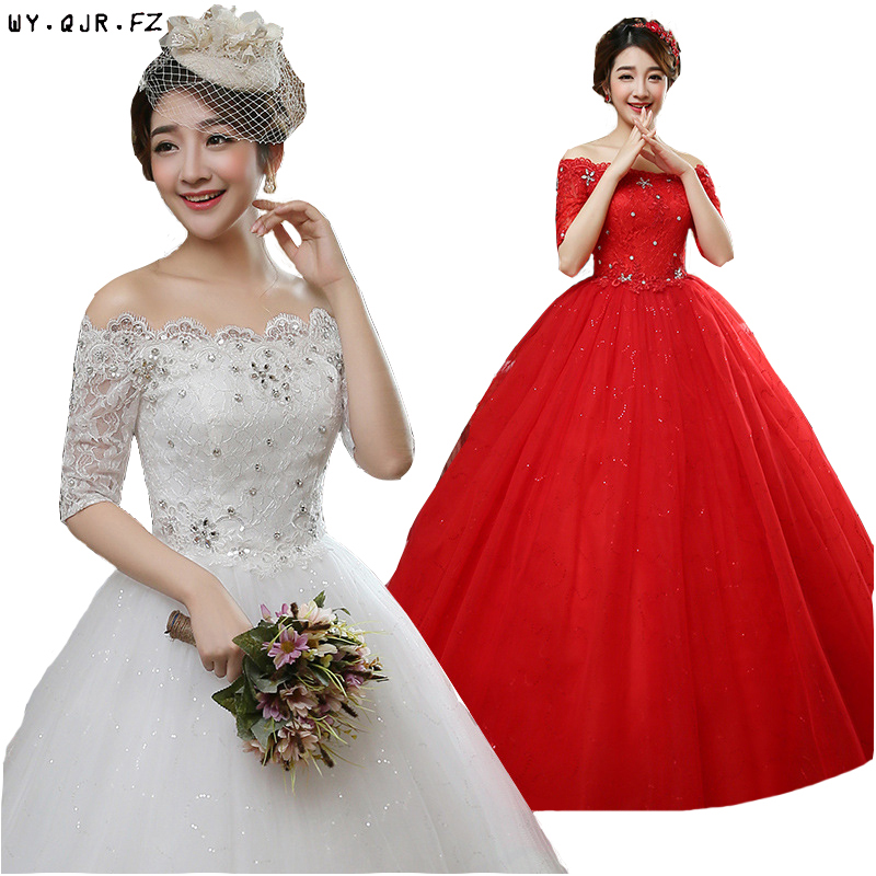 LYG-H79#Real Photos New 2019 Lace Up Bride Wedding Dress Organza With Embroidery Wholesale Dress Cheap Dresses Red White Custom