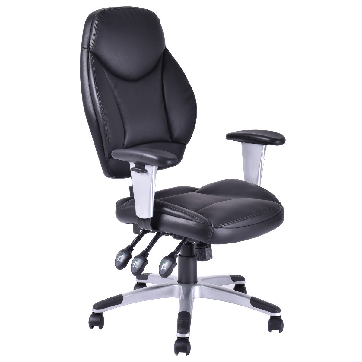 цены Giantex Modern PU Leather High Back Gaming Chair Executive Computer Desk Task Office Chair Black Swivel Office Furniture HW52712