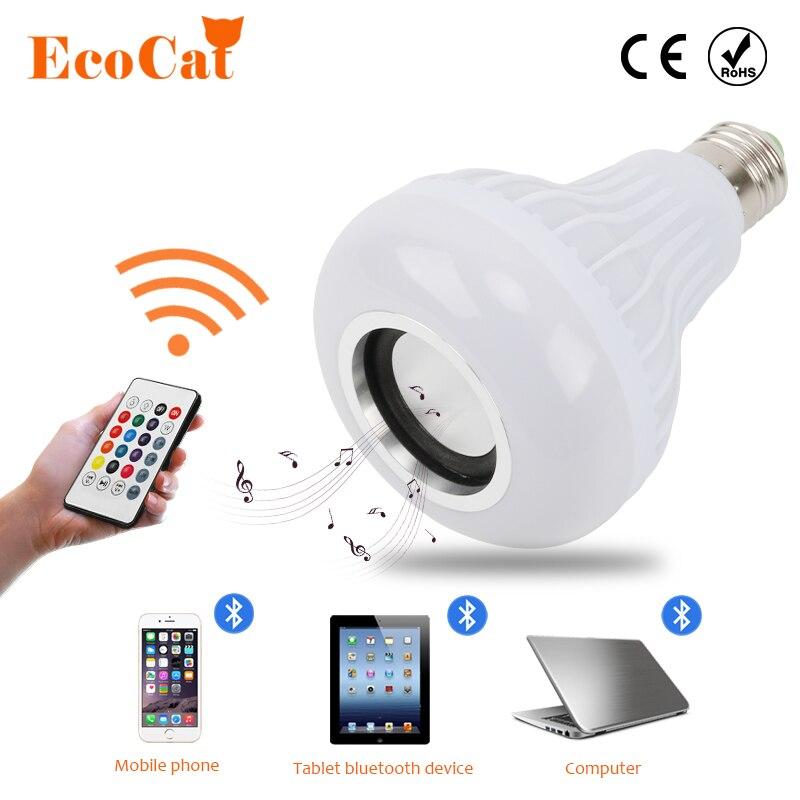 E27 12 W de Potência LED RGB Lâmpada Sem Fio Bluetooth Speaker Música Jogando Luz Lâmpada