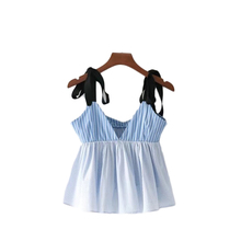 YSMILE Y 2017 Women Summer Deep V Neck Sexy Shirt Camis Blue Striped Sleeveless With Adjustable Strap Bow Ladies Tank Top