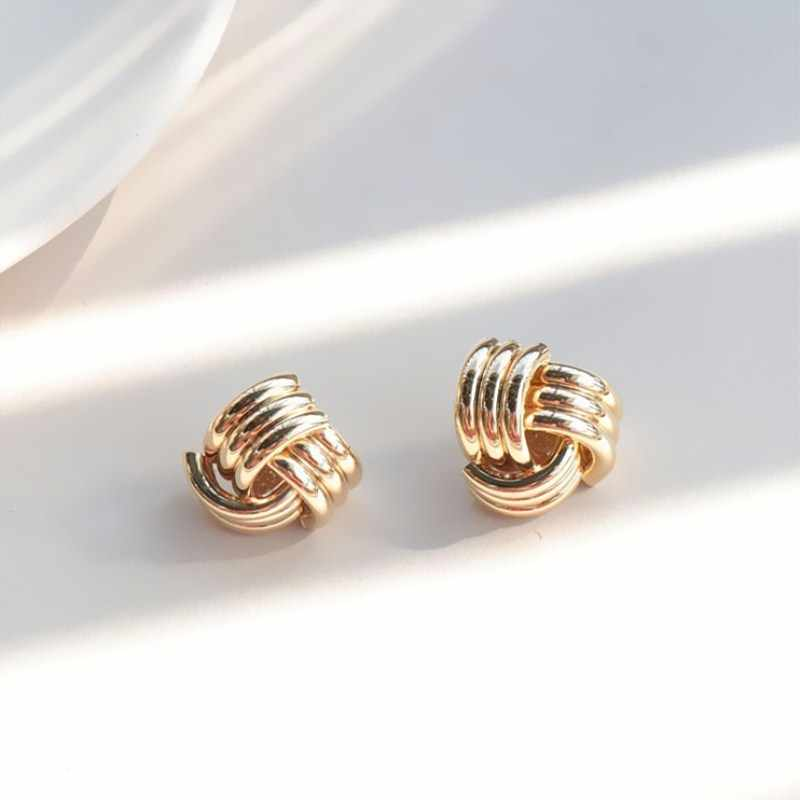 New Fashion Metal Tube Stud Earrings Hip Hop Vintage Geometric Party Earrings for Women Gold Silver Color Bijoux