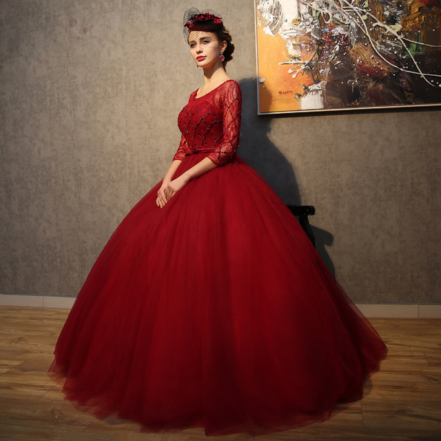Vintage Three Quarter Length Wedding Dresses: 2017 Vintage Burgundy Wedding Dresses Three Quarter