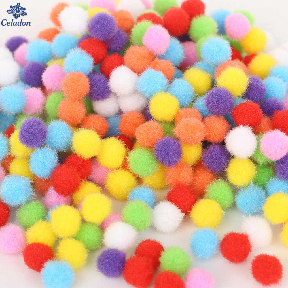 100-500Pcs Mix Size 10mm 15mm 20mm 25mm 30mm Random Mixed Color Pompom Soft Pom Pom Balls For DIY Kids Toys Accessories