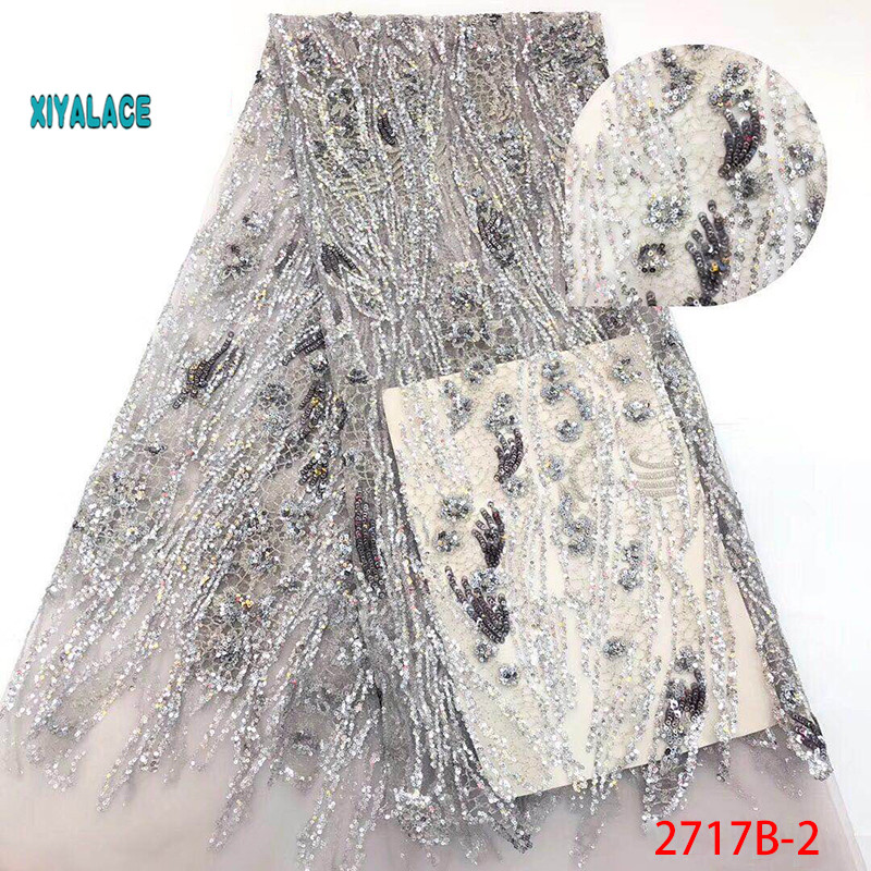 French Lace Fabric African Tulle Lace Fabric 2019 High Quality Nigerian Sequins Lace Embroidered Wedding YA2717B-4