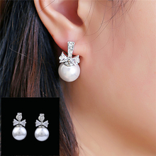 1 Pair  Wedding Ear Silver Plated Round Imitation Beads Pearl Crystal Bow Rhinestone Stud Earrings for Women Girls Jewelry цена