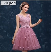 Pink Prom Dresses 2016 New Arrival The Bride Banquet Sweet Lace Embroidery Beading Short Ball Gown