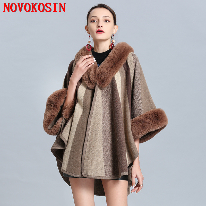 SC295 2019 Winter New Faux Fox Fur Cape Fashion Striped Ladies Poncho With Fur Sleeves Plus Size 210cm Women's Knitted Cardigan