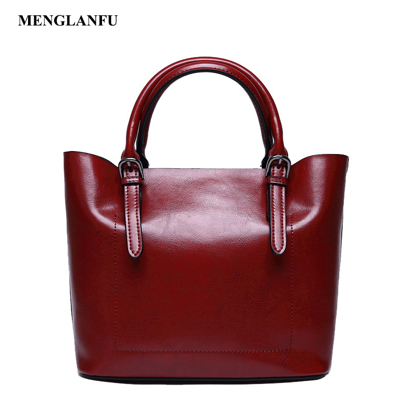 Genuine Leather handbags shoulder bag Women Casual Oil Wax tote bags Famous Brand Ladies large Messenger Bag bolsa feminina Red luxury famous brand women female ladies casual bags leather hello kitty handbags shoulder tote bag bolsas femininas couro