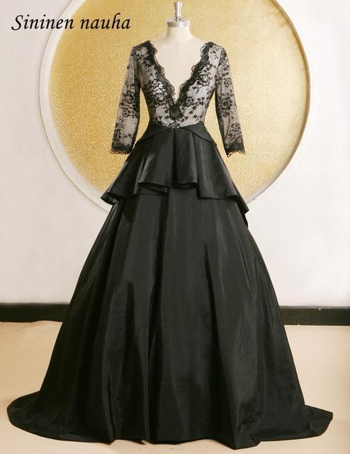 Black Lace Evening Dresses Long Sleeves V Neck Backless Prom Dress
