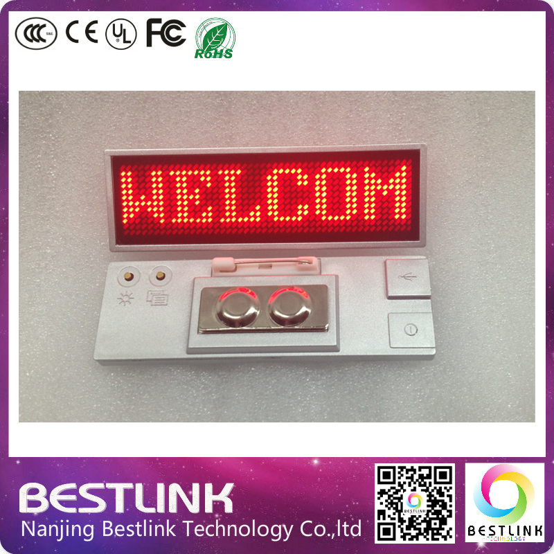 silver frame red color led name badge led name tag programmable diy kits program mini led sign,with magnet and pin