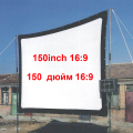 150 Inch 16:9 HD Projector Screen Portable Folded Front Projection Screen Fabric with Eyelets without Frame For LED96 UC46