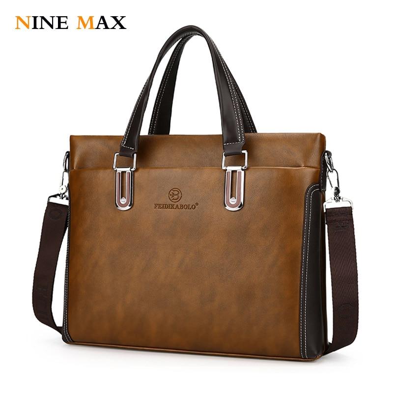 все цены на Men Messenger Bag Pu Leather Shoulder Bags Black 14 Inch Laptop for Male High Quality Brand Man Tote Crossbody Handbag Briefcase онлайн