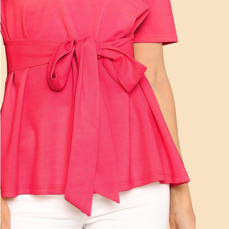 Sheinside Self Belt Keyhole Back Blouse Solid Short Sleeve Top 18 Summer Women Office Ladies Work Elegant Blouse 27