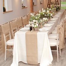 30 センチメートル × 10 m テーブルランナーナチュラルヴィンテージジュートヘッセ行列麻布リボン素朴な結婚式ベルトストラップ結婚式のパーティー装飾クラフト