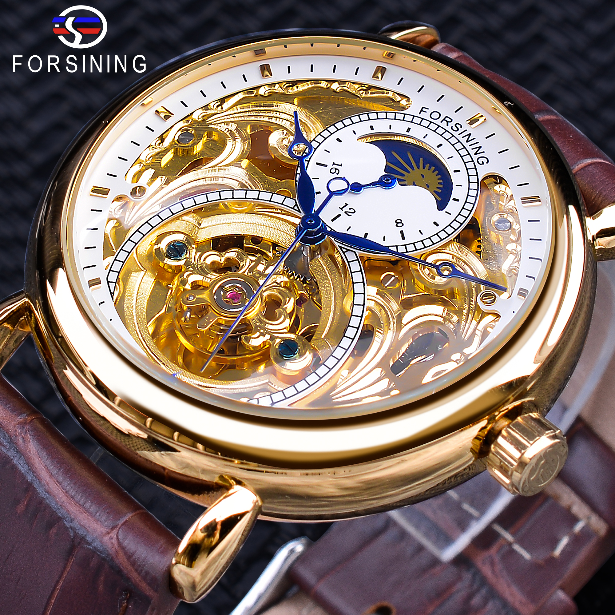 Forsining Luxury White Golden Display Brown Genuine Leather Moonphase Fashion Blue Hands Waterproof Mens Mechanical Watch