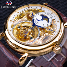 Forsining Luxury White Gold จอแสดงผลสีน้ำตาลหนัง Moonphase แฟชั่นสีฟ้ามือ Skeleton กันน้ำผู้ชายอัตโนมัตินาฬิกา