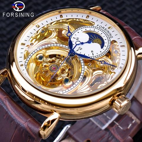 Display de Ouro Esqueleto à Prova Forsining Luxo Branco Marrom Couro Moonphase Moda Mão Azul Dwaterproof Água Relógio Mecânico Automático