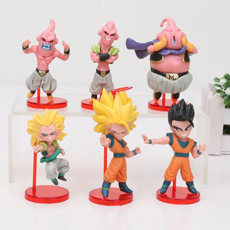 6pcs/set 8cm Dragon Ball Z Kai Son Gokou Gohan Goten Buu Ubu Budokai PVC Action Figure Model Toy Dragon Ball Figures