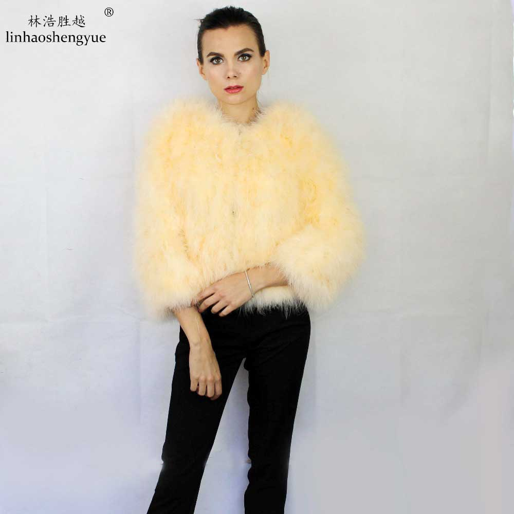 Linhaoshengyue Long 50cm sleeve long 50cm Ostrich Turkey fine hair long sleeve short fur coat