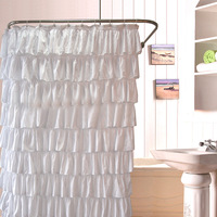 Ruffle Shower Curtain Polyester Fabric Cloth Curtains for Bathroom Bathing FPing