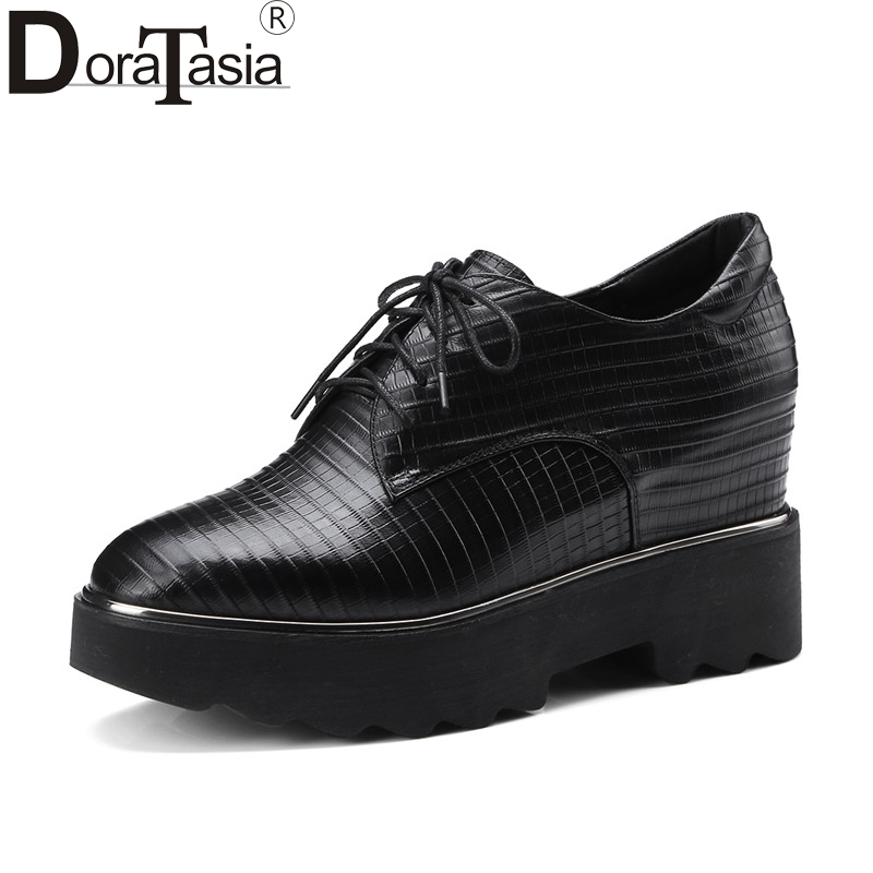 DoraTasia Large Size 33-42 women's Genuine Leather Square Toe lace-up Wedges Increasing Platform Shoes Woman Casual Spring Flats qmn women genuine leather platform flats women brushed leather height increasing brogue shoes woman square toe creepers 34 42