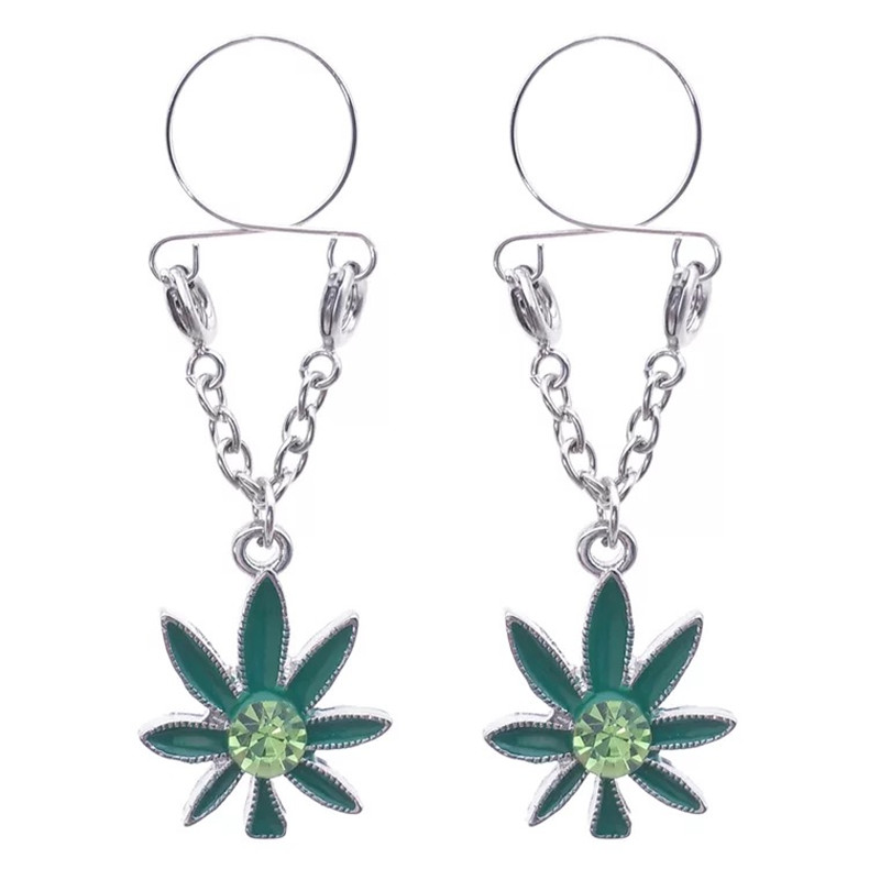 New Leaves Red/Green Crystal Sexy Non Pierced Nipple Piercing Clip On Fake Nipple Ring Body Jewelrys Nipple Adult Adjustable
