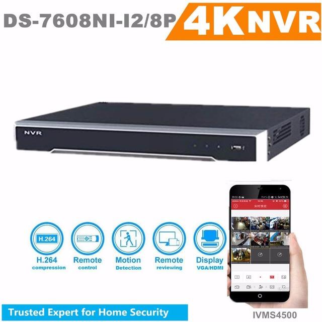 Em Estoque Hik Versão Original Em Inglês H.265 NVR Onvif DS-7608NI-I2/12MP 8 P 8CH NVR Com 2 SATA 8 Portas POE