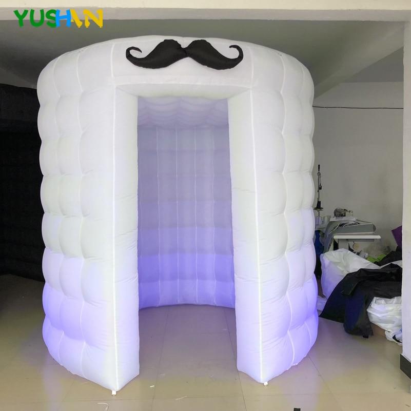 Led leuchten tragbare photo booth zelt mit schnurrbart requisiten Runde photo booth fotografie kulissen Aufblasbare Photo Booth Für Verkauf - 2
